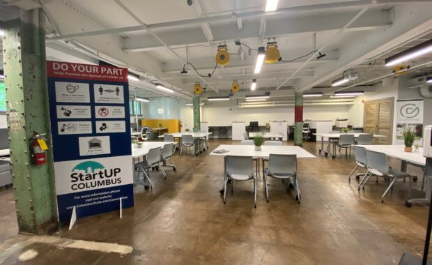 StartUP Columbus incubator space; a rustic, industrial work space for entrepreneurs.